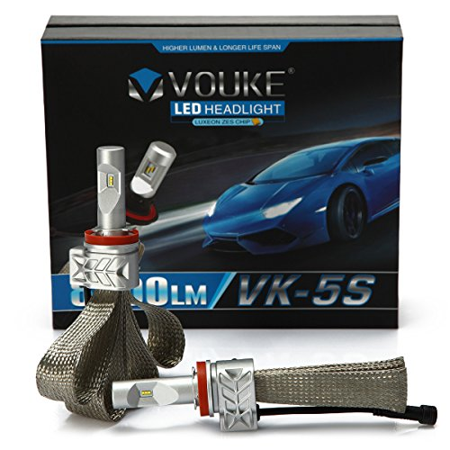 VK-5S H11 H8 H9 8000LM LED Headlight Conversion Kit, Low beam headlamp, Fog Driving Light, HID or Halogen Head light Replacement, 6500K Xenon White, 1 (Kit Low Beam Cruiser)