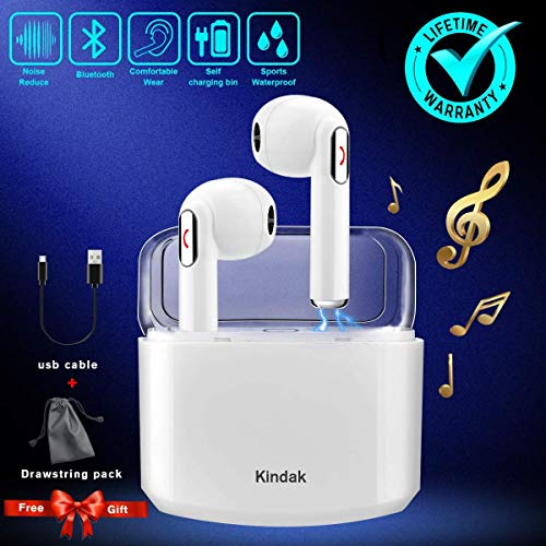 Wireless Earbuds Earphones, Bluetooth Earbuds Headphones in-Ear Noise Cancelling Earbuds Earpiece with Mic Charging Case Earbuds, Sport Running Mini Stereo Bass Earbuds for iOS Android -