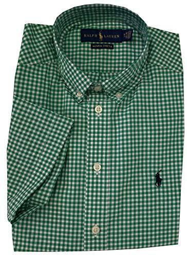 Polo Ralph Lauren Boys 8-20 Natural Stretch Short Sleeve Button Down Shirt (Green, Large (14-16))