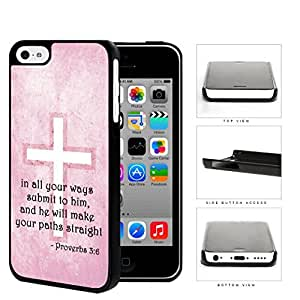 Proverbs 3:6 Bible Verse on Pink Grunge Background & Cross [iPhone 5c] Hard Snap on Plastic Cell Phone Cover