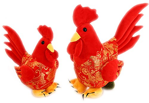 ZJY 13.8 inches Hold pillow stuffed chicken year mascot bright red rooster 1 pcs (Monkey Kit With Sound)