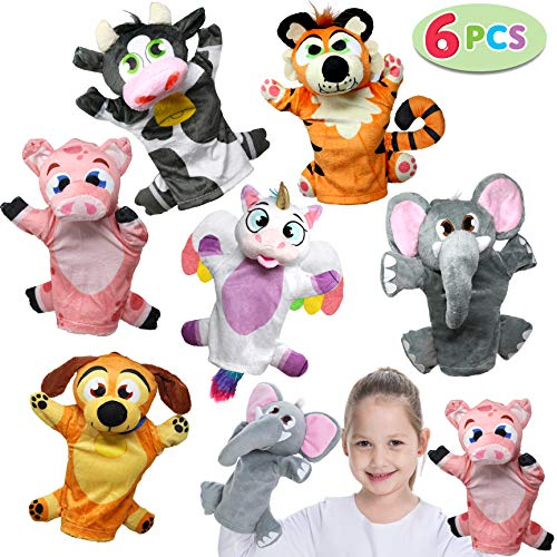 JOYIN Toy Animal Friends Deluxe Hand Puppets 6 Pack for Imaginative Play, Stocking, Birthday Party Favor Supplies, Girls, Boys, Kids and Toddler ()