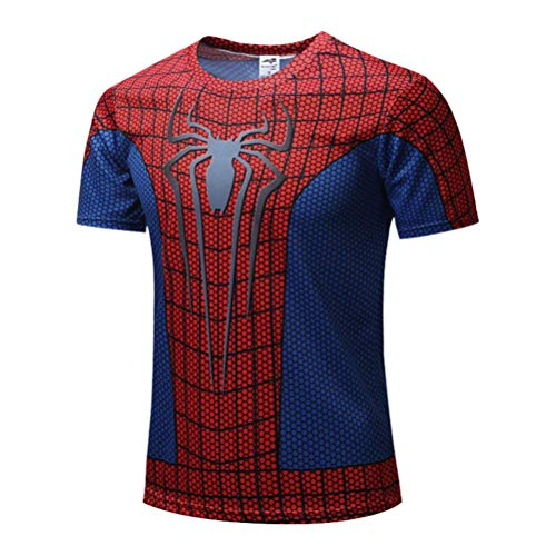 Mens Dri Fit Superhero Spiderman Running Shirt,Spider Full Body Costume 2XL -