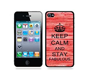 Keep Calm And Stay Fabulous Red Wood - Protective Designer WHITE Case - Fits Apple iPhone 4 / 4S / 4G
