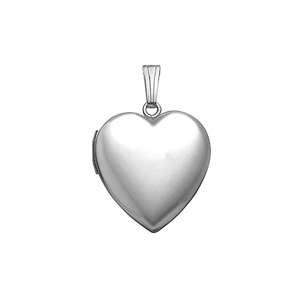 Sterling Silver Extra Large Heart Locket 1 1/4 Inch X 1 1/4 Inch in Sterling Silver w / engraving