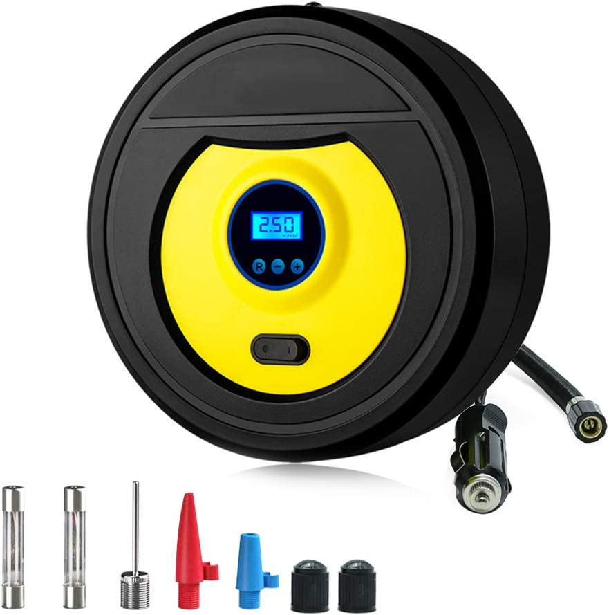UPDATED VERSION HD LED display and light Digital Tyre Inflator-12V 150PSI Touch Screen Air Compressor Tyre Pump Inflator with 35L//Min Larger Air Flow,3 nozzle adapters