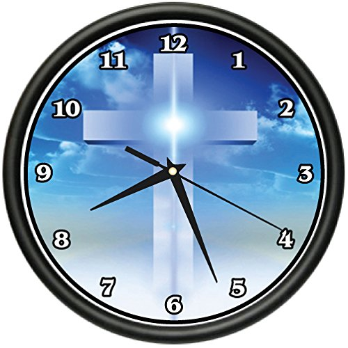 CROSS Wall Clock jesus christian religious spiritual gift by SignMission