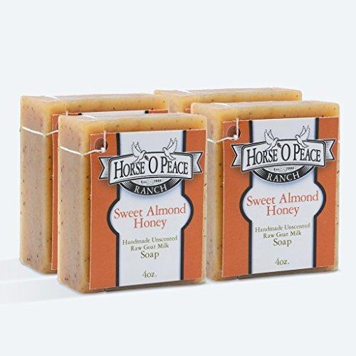 Handmade Herbal 100 Raw Goat Milk Sweet Almond Honey Soap 5 PACK