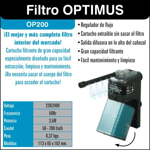 ICA OP200 Optimius 200 - Filtro Interior: Amazon.es: Productos para mascotas