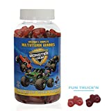 MONSTER JAM Kids & Toddlers Gummy Complete Daily Multivitamins by Guardian Essentials. MONSTER TRUCK SHAPES! Soft texture, 3 great berry flavors! Kid & parent approved! Vegetarian, vegan (180 count)