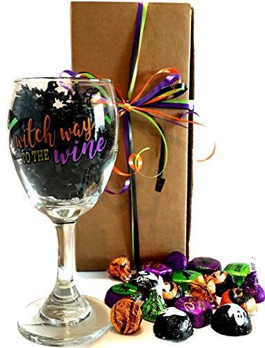 College Women Halloween - Halloween Gifts! Halloween Wine Glass - Halloween Beer Glass - WITH Halloween Treats - Halloween Gift For Adults! (Wine - Witch Way to the Wine)