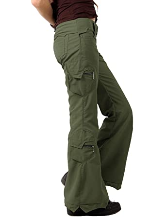 e0105056aac92 HZKLFS Women Loose Fit Military Multi-Pockets Adjustable Belt Cargo Pants  Outdoor (Army Green