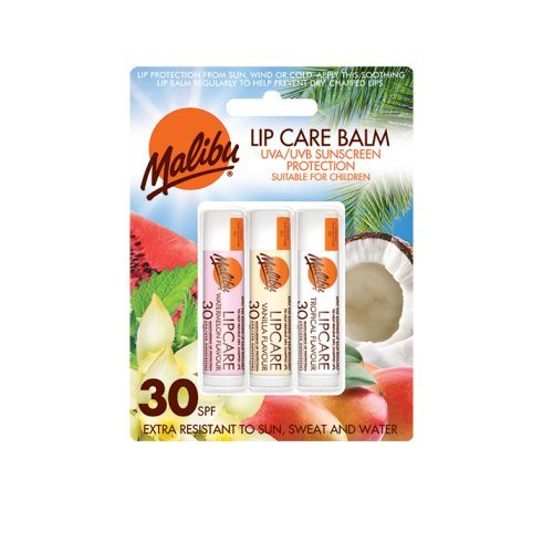 Malibu Blister Lipbalm with SPF30, Watermelon/Vanilla/ Tropical 12 ml EM640BLI/WVT