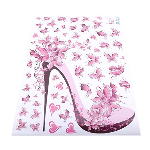 EH-LIFE Fairy High Heel Shoes Wall Sticker for Kids Rooms Flower Butterfly Wall Decal -