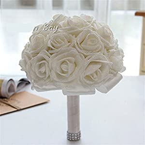 FantasyDay Rose Flower Wedding Bouquet, Dazzling Bridesmaid Bouquet Bridal Bouquet with Crystals Soft Ribbons, Flowers Leaf Wedding Floral Decor Bouquet for Wedding, Party and Church, Ivory White 24