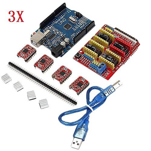 3 x geekcreit CNCシールド+ UNO r3ボード+ 4 x a4988ドライバーキットヒートシンク付きfor Arduino 3dプリンタ B077GNYV52