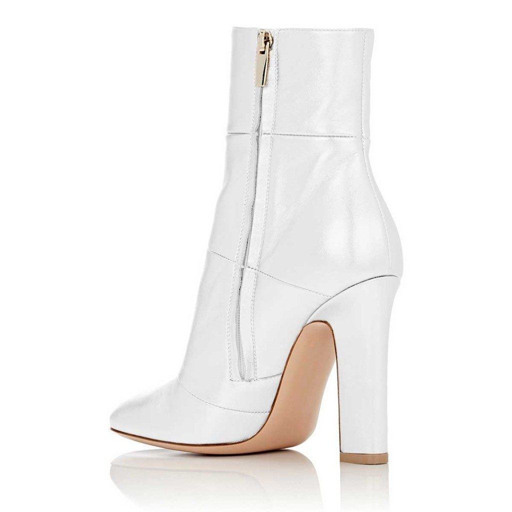 FSJ Fashion Ankle Boots Women Side Pointed Toe Side Women Zipper Chunky Heel Shoes Size 4-15 US B074QGX7ZB Boots 1cb59a