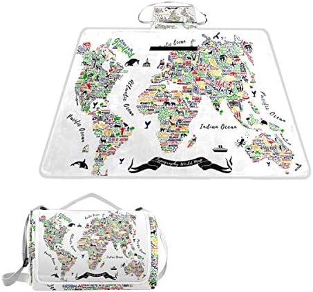 jeansame colorato Mappa del Mondo Vintage Picnic Mat Coperta da Picnic, da Campeggio per Outdoor Viaggio Yoga Escursionismo Impermeabile Portatile Pieghevole 150x 145cm
