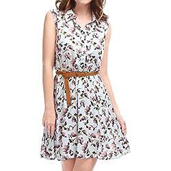 Allegra K Women Floral Prints Sleeveless Belted Shirt Dress S Light Blue