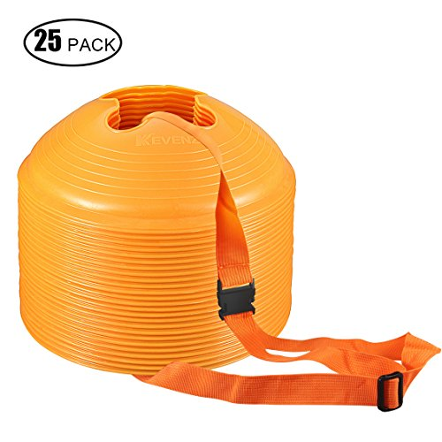 25 Counts Kevenz Plastic Sport Soccer Disc Cones Markers for Football Training (Orange) (20 Disc Cones compare prices)