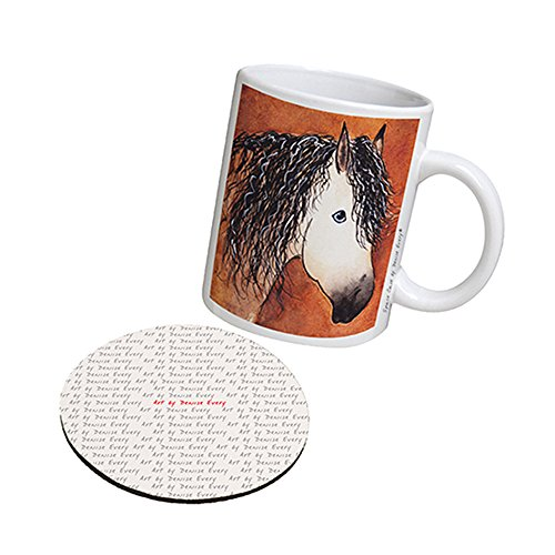 Buckskin Quarter Horse (Space Case by New Vibe Coffee Mug Cup & Drink Coaster - Buttermilk Buckskin Quarter Horse Abstract Art by Denise Every)