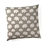 Glenna Jean Elephant Herd - Stone 18''x 18'' Pillow with Fill for Baby Nursery, Decorative Soft Cushion Square