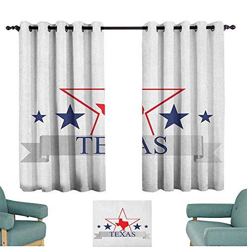 (ParadiseDecor Texas Star,Thermal Insulated Drapes San Antonio Dallas Houston Austin Map with Stars Pattern USA 100