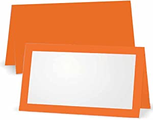 Orange Place Cards - Flat or Tent - 10 or 50 Pack - White Blank Front with Border - Placement Table Name Seating Stationery Party Supplies - Occasion or Event - Dinner Food Display (50, Tent Style)