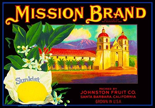 A SLICE IN TIME Santa Barbara Mission Brand Lemon Citrus Fruit Crate Label Art Print - 8.75 x 12.50 inches ()