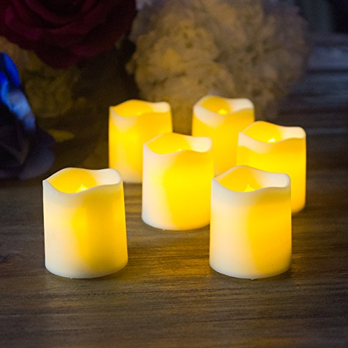 Flickering Flameless Votive Candles Beige Colored Led Unscented Tealights Battery Powered Candles Wedding Celebrations Party Favor Candles 1.6'' Height(Pack of (Coloured Led)