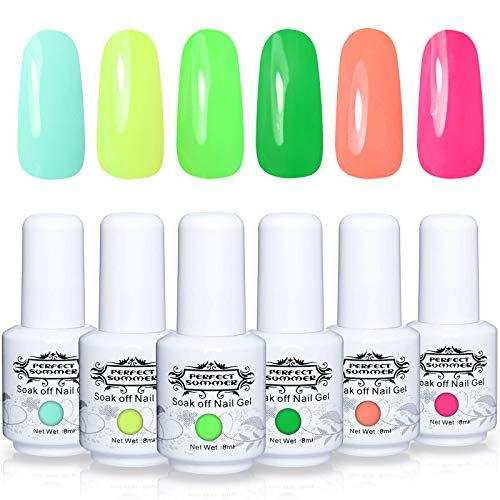 Perfect Summer Gel Nail Polish - 6 Neon Colors Gel Nail Varnish Soak Off UV LED Manicure Home Gel Manicure System 8ML 145