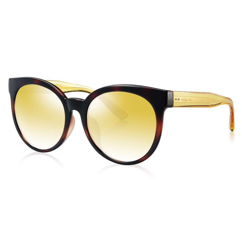 BOLON BL5000 Women's CR39 Golden Gradient Mirror Non Polarized Lens Butterfly TR Sunglass