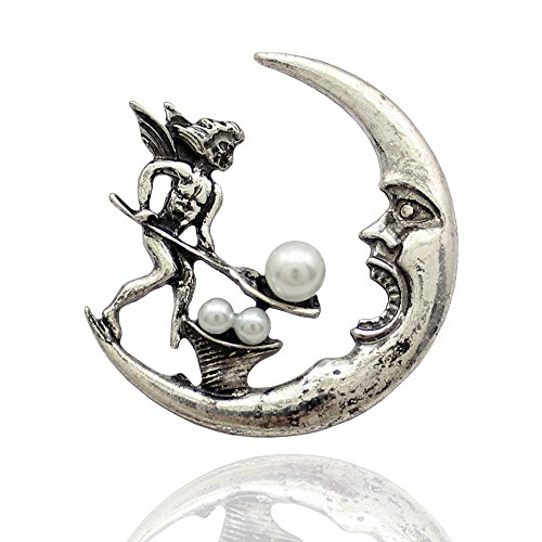 Nouveau Brooch Art Pin (Vintage Silvery Q&Q Fashion Antique Tribal Angel Fairy Feeding Moon Cresent Simulated - Pearl Baroque Lapel Brooch Pin)