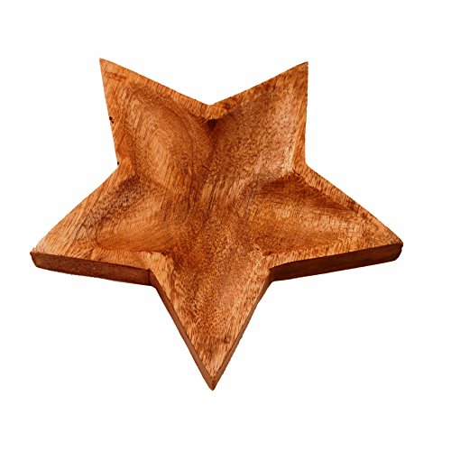Purpledip Wooden Serving Tray/Platter 'Twinkling Star': Small Plate For Snacks, Cookies, Fruits Or Aftermints (11292)