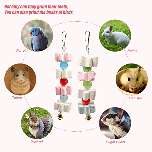 S-Mechanic Parrot Chewing Toy Beak Trimmer Calcium Stone with Bell Lava Block Grinding Stone for Chinchilla,Cockatiel,Conure,Budgies,African Grey, Amazon Parrots,Parakeet Bird 2 Packs (Style-1)