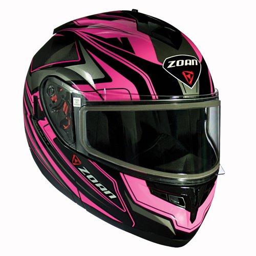 Zoan Optimus Snow Eclipse Pink Dual Lens Modular Flip Up Snowmobile Riding Helmet - Modular Eclipse Snow Helmet