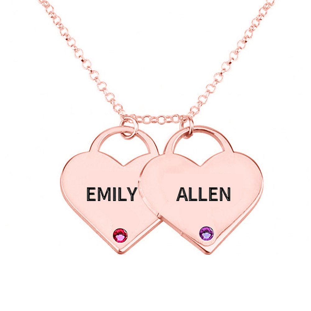 Ouslier Personalized 925 Sterling Silver Birthstone Two Heart Pendants Name Necklace Custom Made with 2 Names