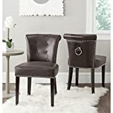 Safavieh Mercer Collection Sinclair Antique Brown Leather Ring Dining Chair (Set of 2) For Sale