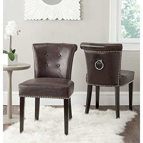 Safavieh Mercer Collection Sinclair Antique Brown Leather Ring Dining Chair (Set of 2)