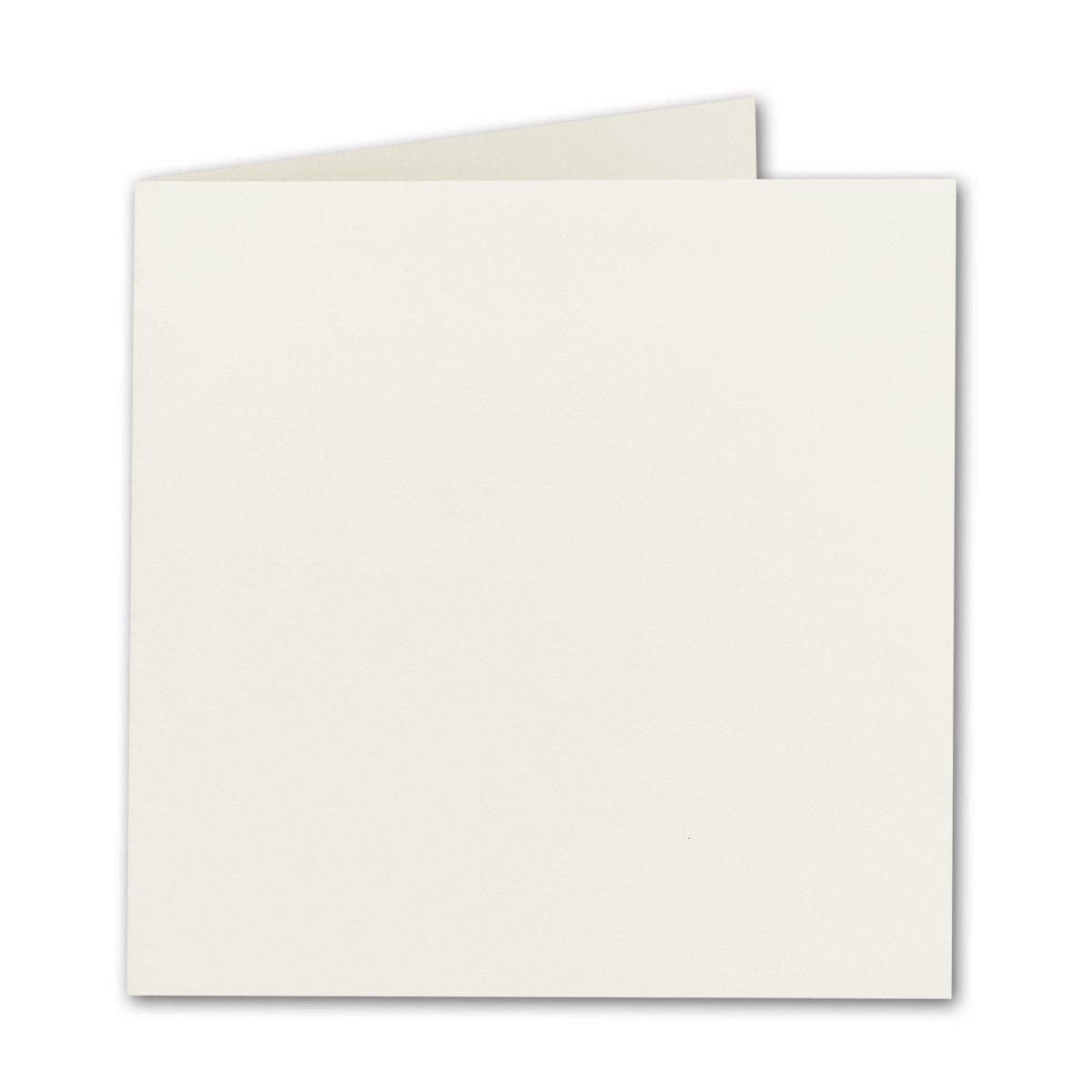 Biglietti pieghevoli quadrato–Naturale/Bianco Qualità Premium–15x 15cm–molto stabile–per stampanti.–qualità marca: Neuser colori vivaci 25 D