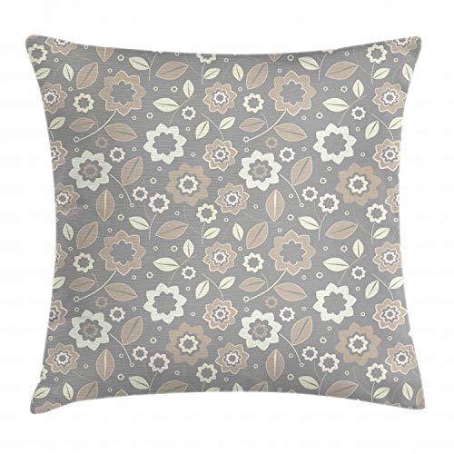 (Lunarable Ivory and Grey Throw Pillow Cushion Cover, Abstract Garden in Summer Season Theme Old Fashioned Blooming Meadow, Decorative Square Accent Pillow Case, 36