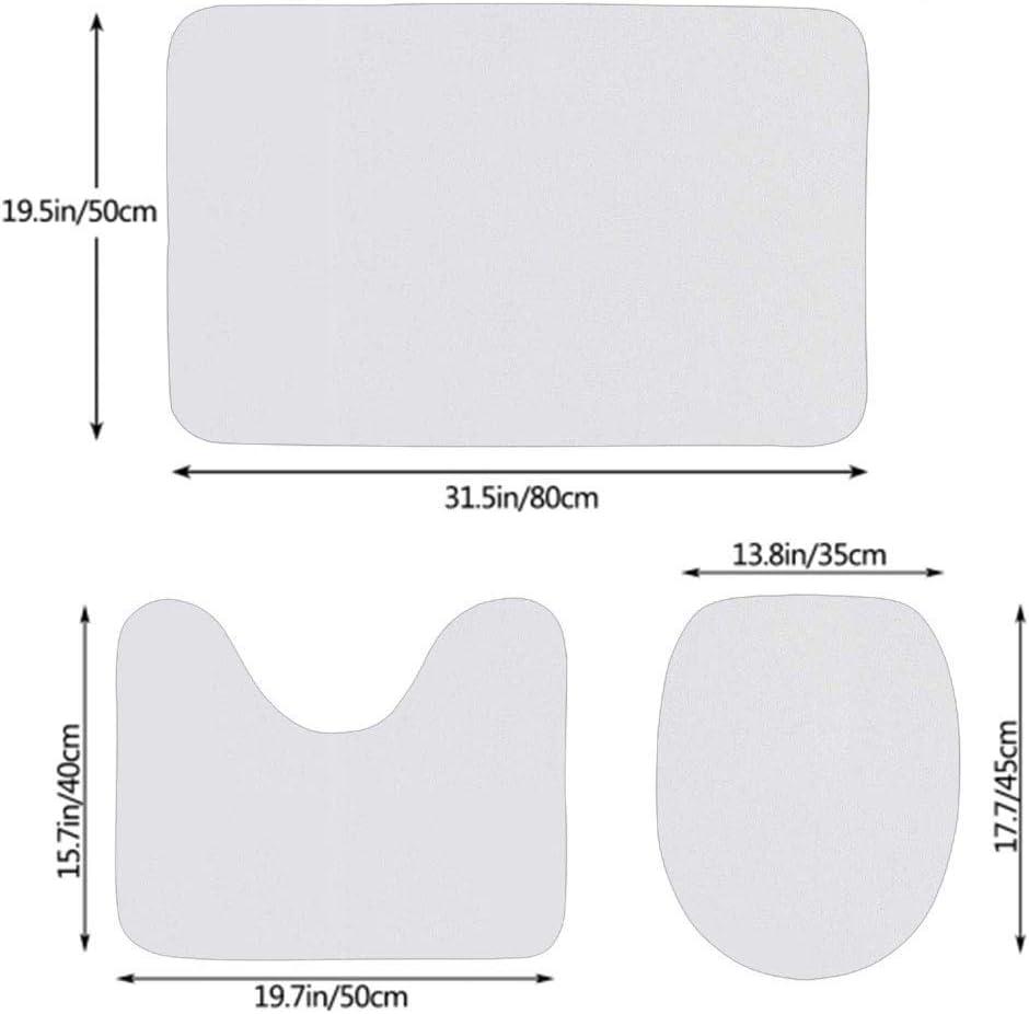 N\A Gufo Arazzo Natura Foglie e Fiori Stampa 3 Pezzi Set tappeti Bagno Coprisedile WC con Tappetino Contorno