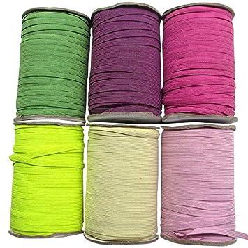 Chenkou Craft U Pick Colorful Braided Elastic Ribbon Elastics Band 6mm Size 20yards (fushia) Chenkou Trade