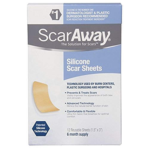 ScarAway Professional Grade Silicone Scar Treatment Sheets, 12 Count (Packaging May Vary)