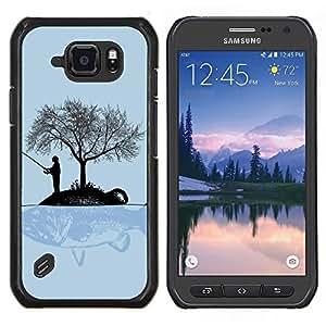 Gran pez- Metal de aluminio y de plástico duro Caja del teléfono - Negro - Samsung Galaxy S6 active / SM-G890 (NOT S6)