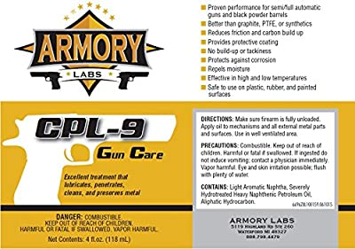 Armory Labs - CPL-9 Gun Cleaner, Protector, and Lubricant, 4oz Bottle