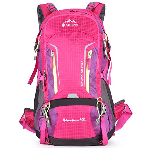 (Aoking Large 50L Hiking Backpack with Rain Cover Travel Lightweight Daypack Rucksack for Outdoor,Camping,Climbing,Overnight (Pink))