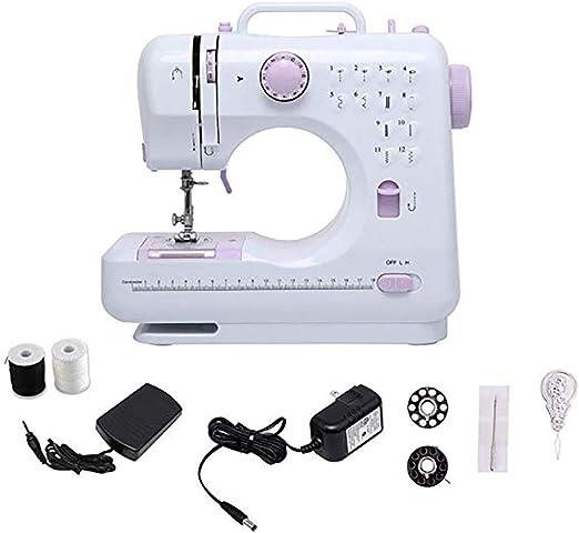 Máquina de coser con luz,Profesional mini máquina de coser portátil Pedaleo perfecto para el hogar Niños principiantes Niñas y niños 12 Tipos de Puntadas Diferentes: Amazon.es: Hogar