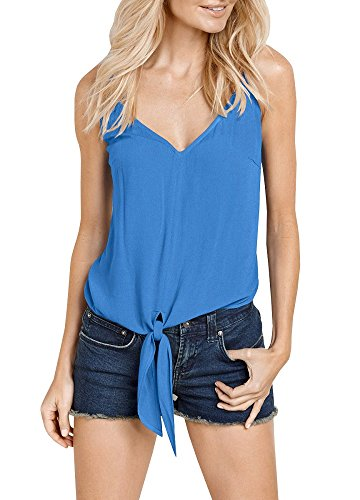 Dellytop Womens V Neck T Shirts Sleeveless Tie Front Spaghetti Strap Tank Top