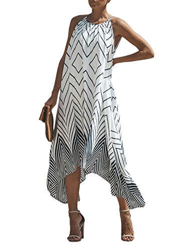 Cosygal Women's Boho Chevron Geometric Print Asymmetrial Maxi Long Dress Black ()